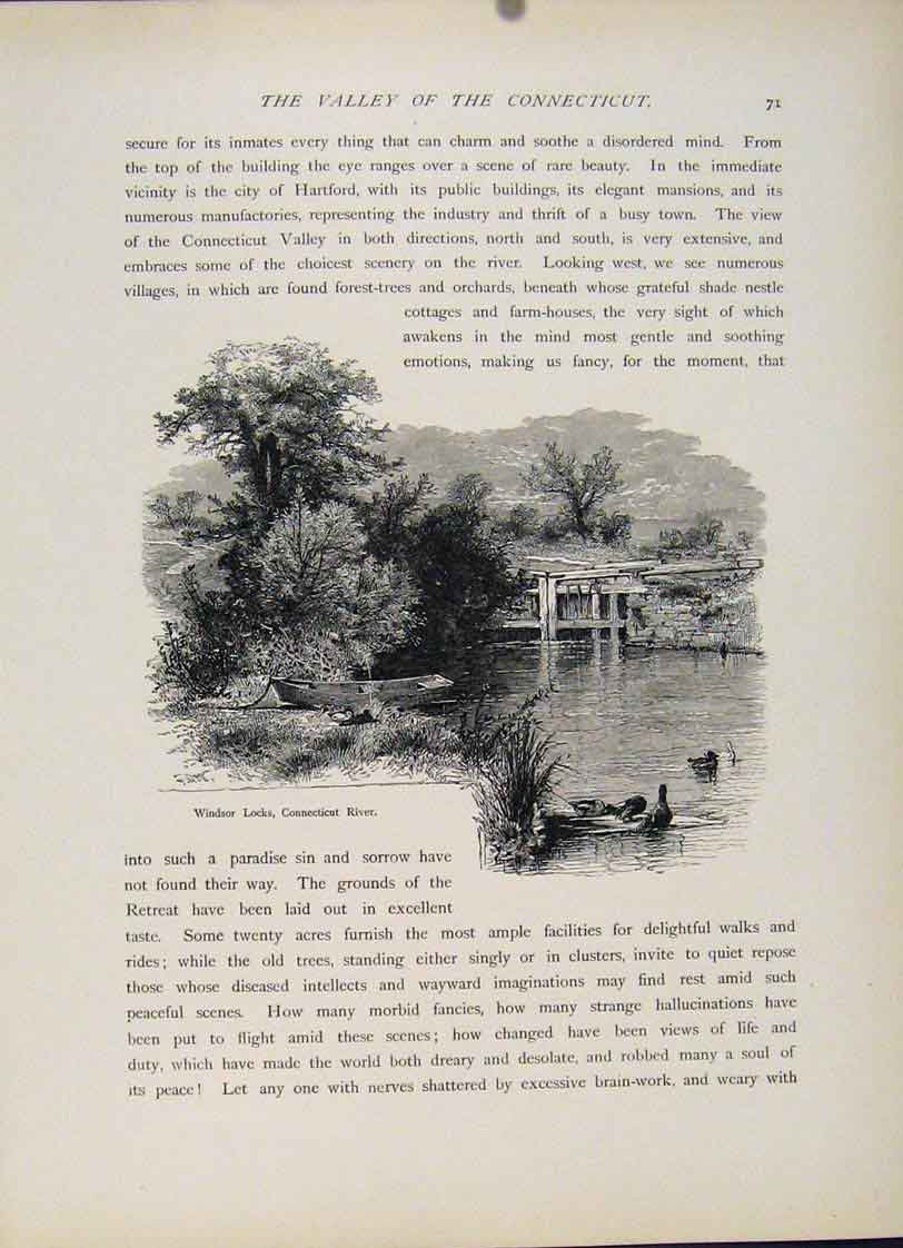 Print Connecticut River Windsor Locks Engraving Fine 377121 Old Original