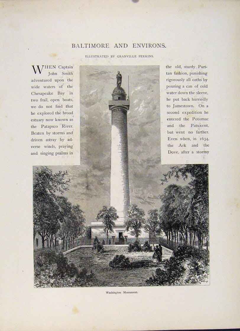 Print Baltimore Environs Washinton Monument 527121 Old Original
