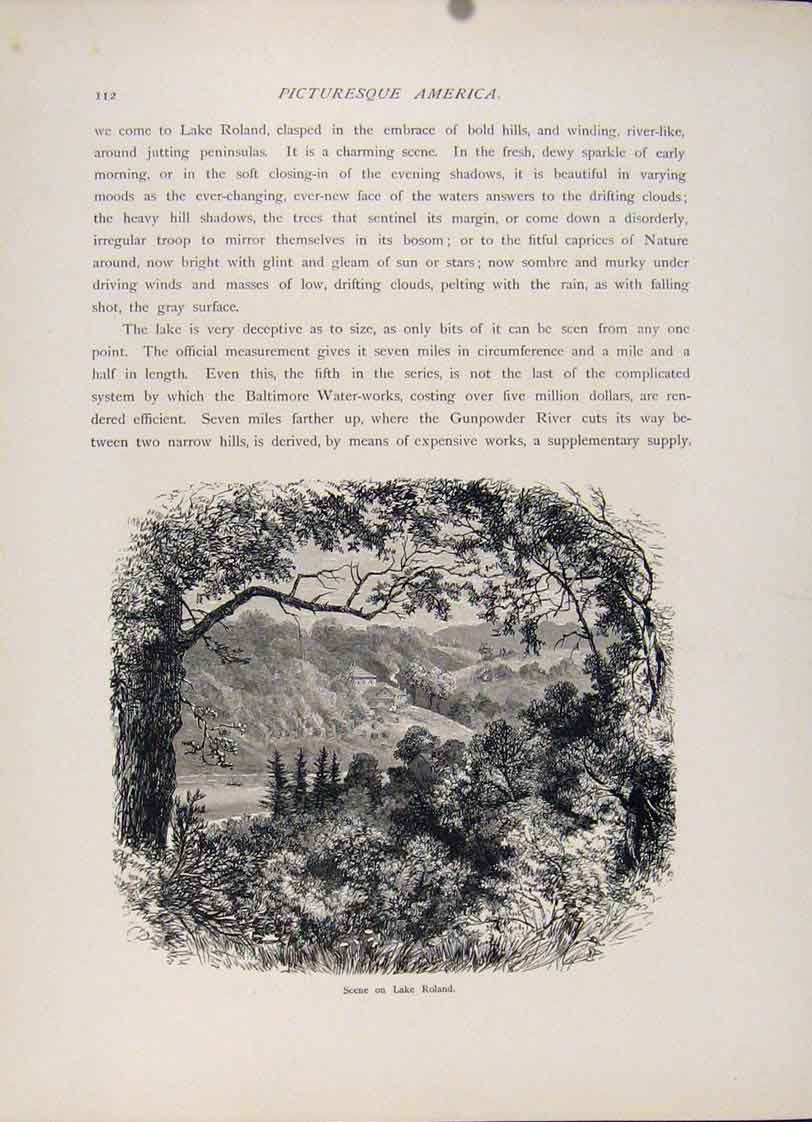 Print Lake Roland Wood Engraving Fine Art C1872 597121 Old Original