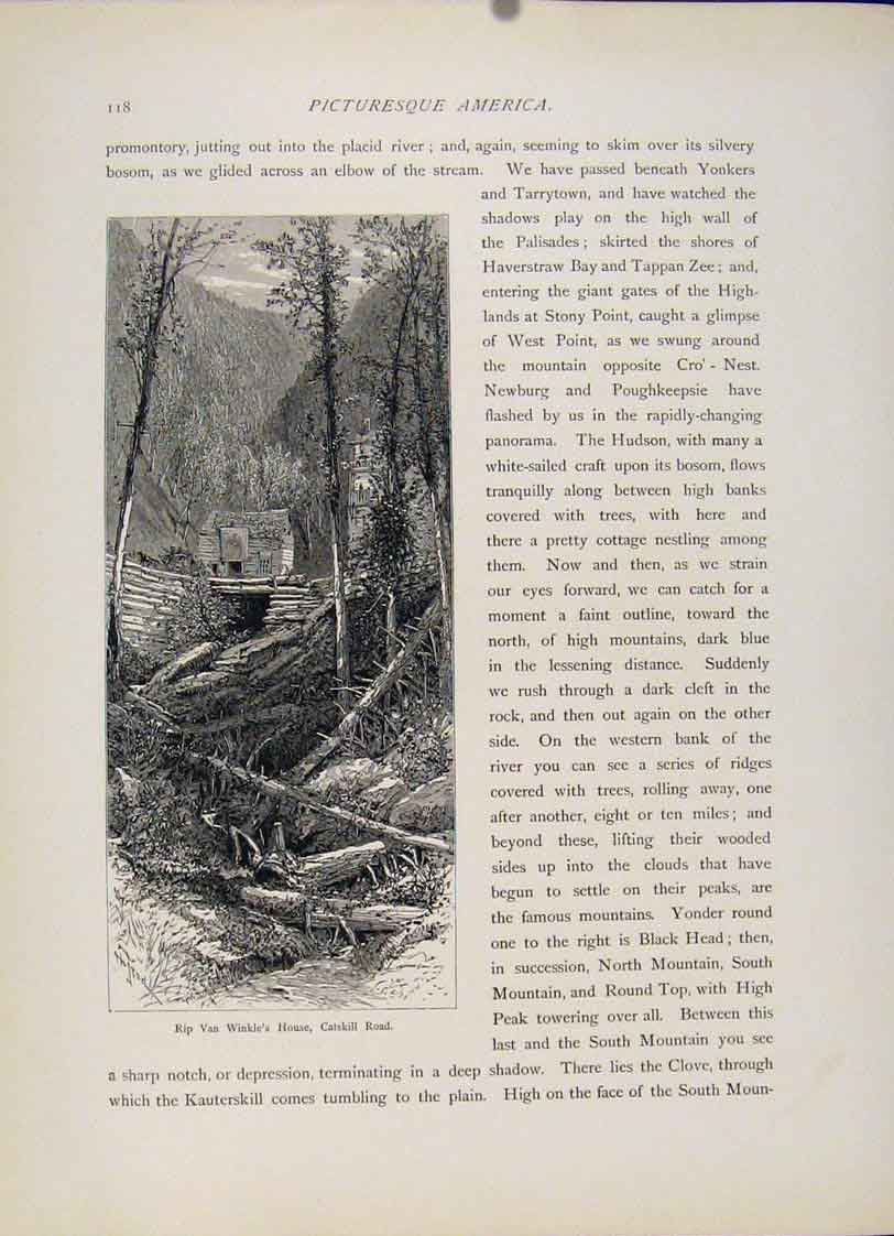 Print Rip Van Winkle House Catskill Road Wood Engraving 627121 Old Original