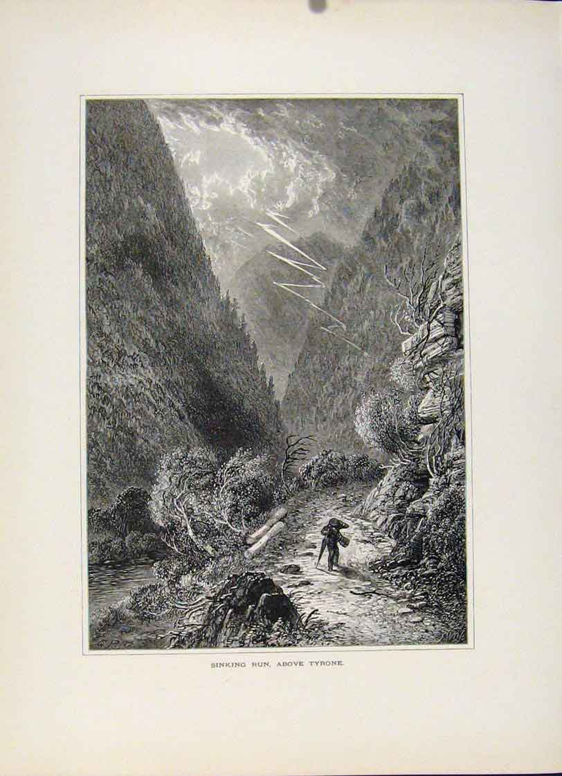 Print Sinking Run Tyrone C1872 Wood Engraving Art 757121 Old Original