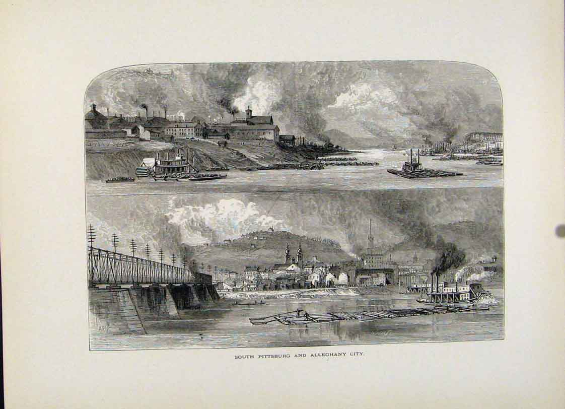 Print South Pittsburg Aleghany City Wood Engraving 777121 Old Original