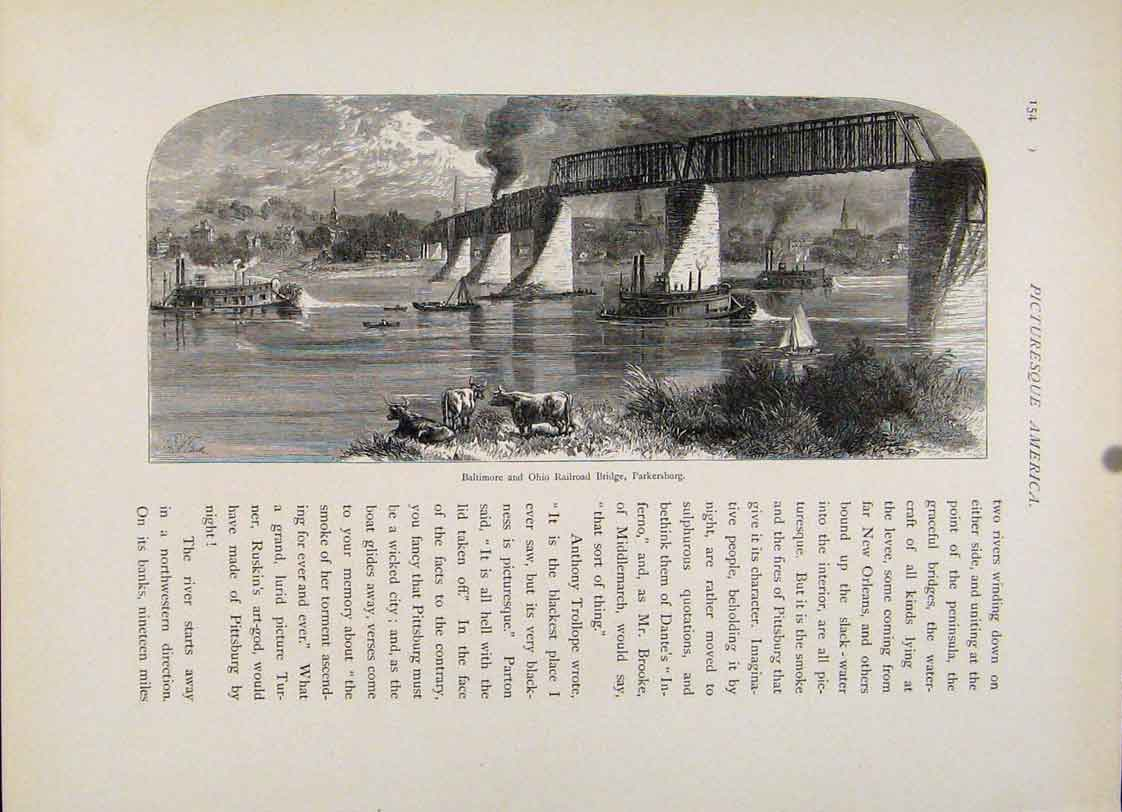 Print Wood Engraving Baltimore Ohio Railroad Bridge 787121 Old Original