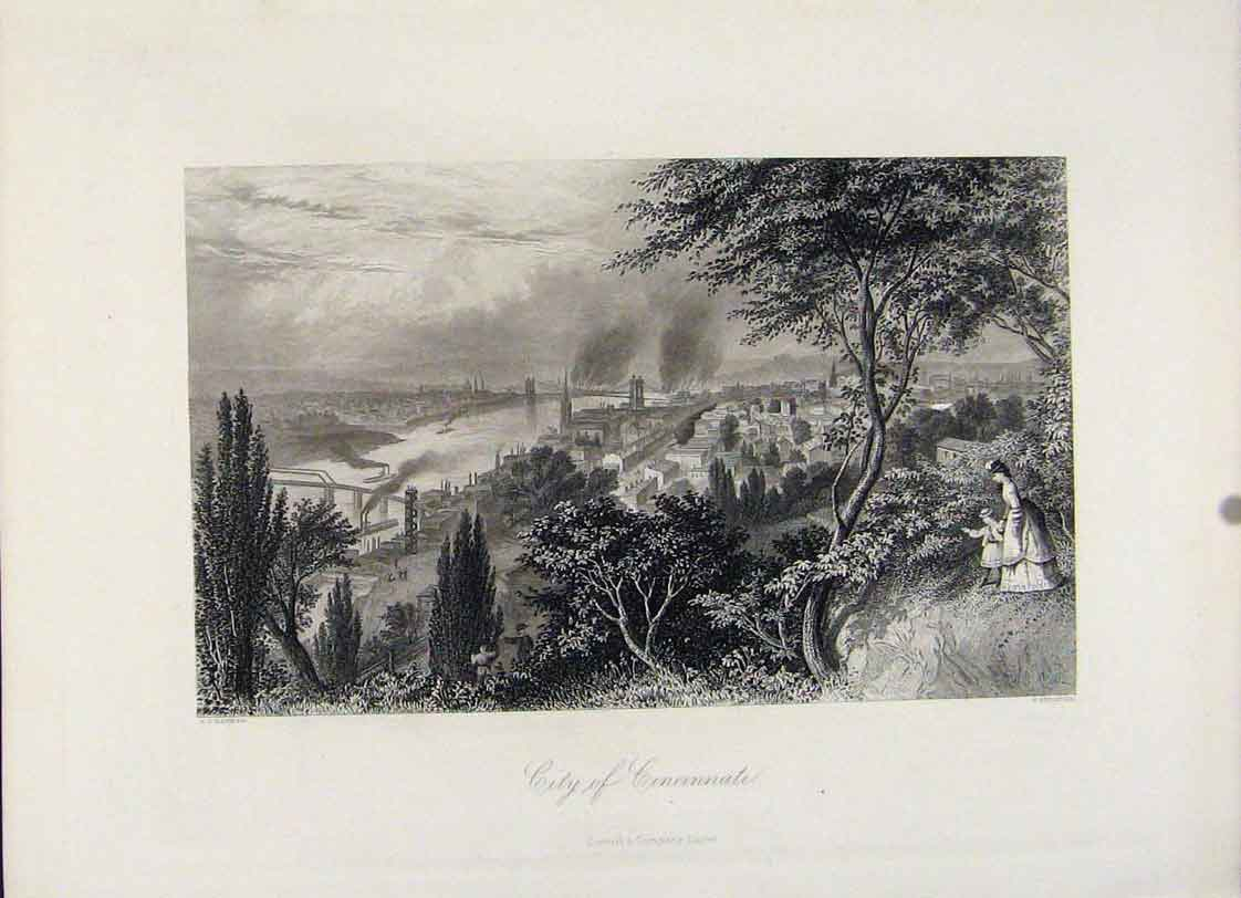 Print Steel Engraving City Cincinnati 1872 Art 817121 Old Original