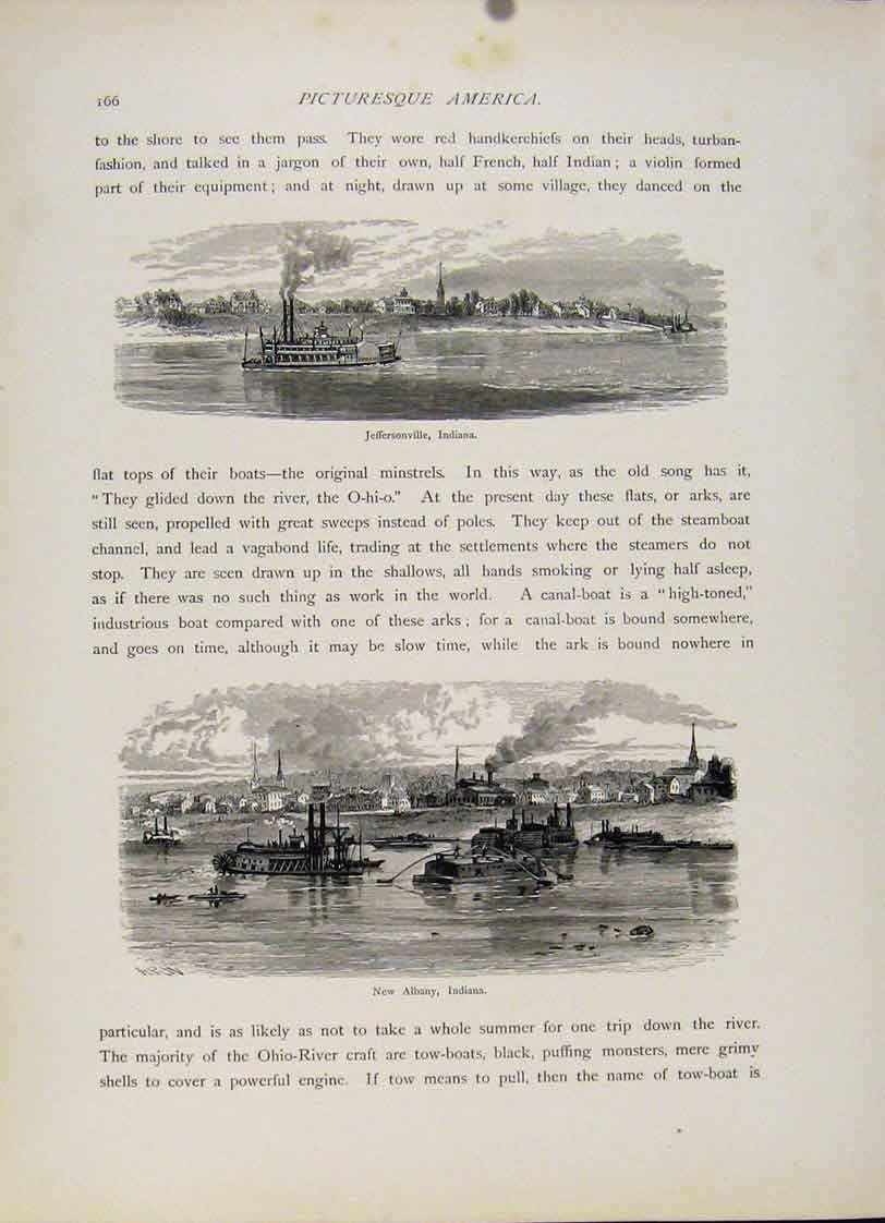 Print Jeffersonville Indiana New Albany Engraving 857121 Old Original