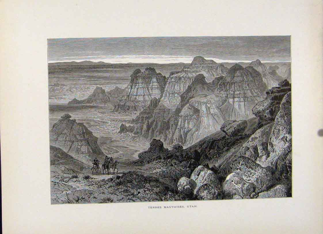 Print Terres Mauvaises Uthah Wood Engraving 967121 Old Original