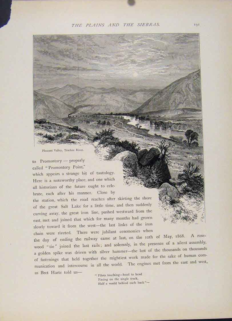 Print Plains Sierra Valley Truckee River Engraving 987121 Old Original