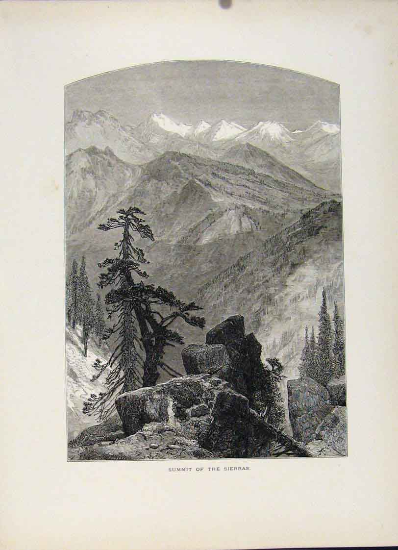 Print Engravings Wood C1872 Summit Sierras Art 027121 Old Original
