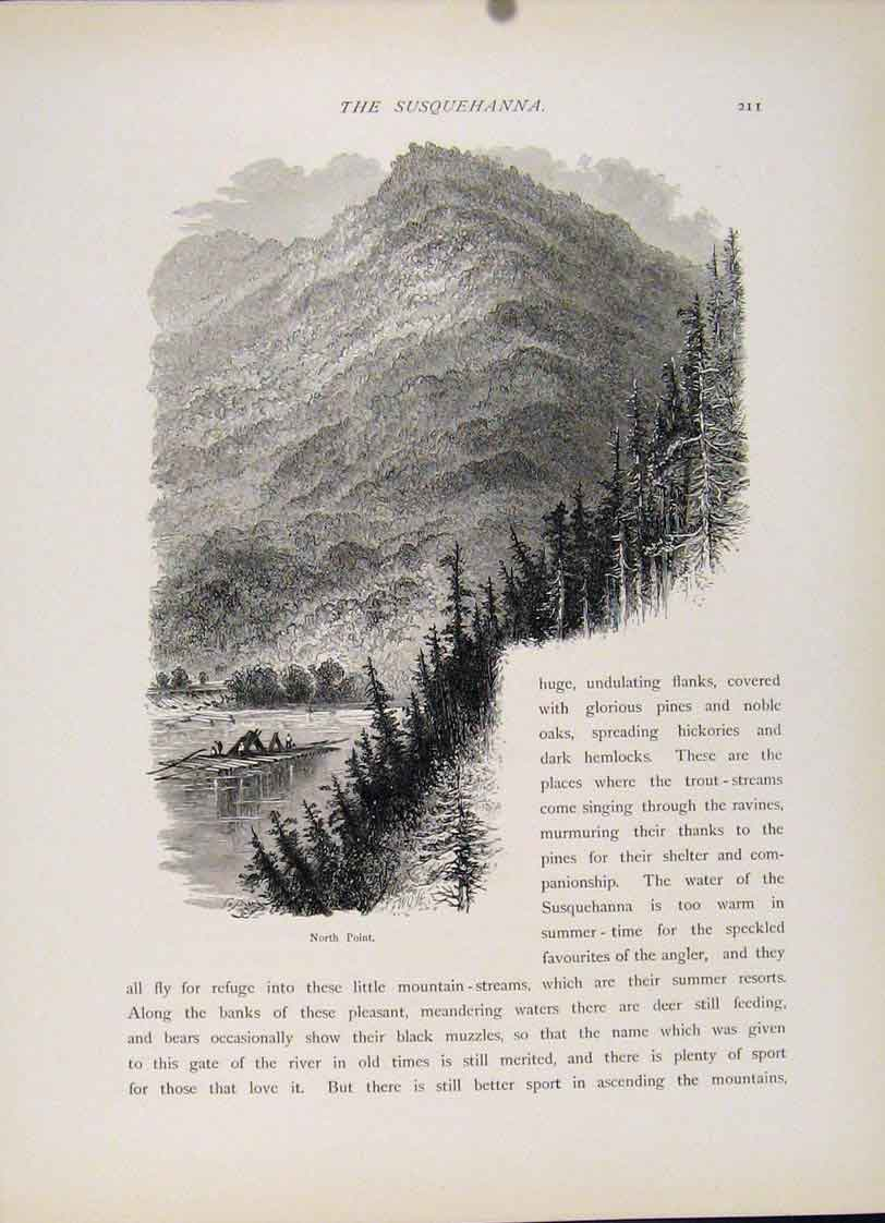 Print Wood Engraving North Point C1872 Art 097121 Old Original