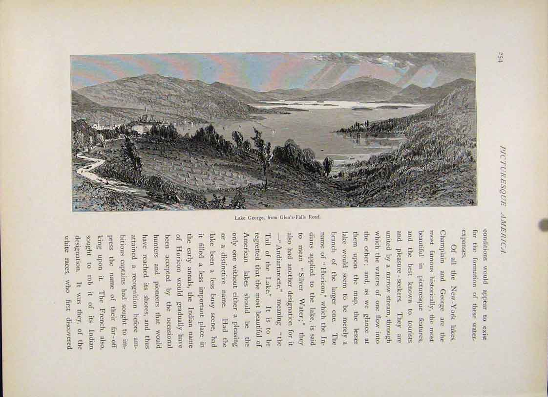 Print Lake George Glens Falls Road Wood Engraving 297121 Old Original