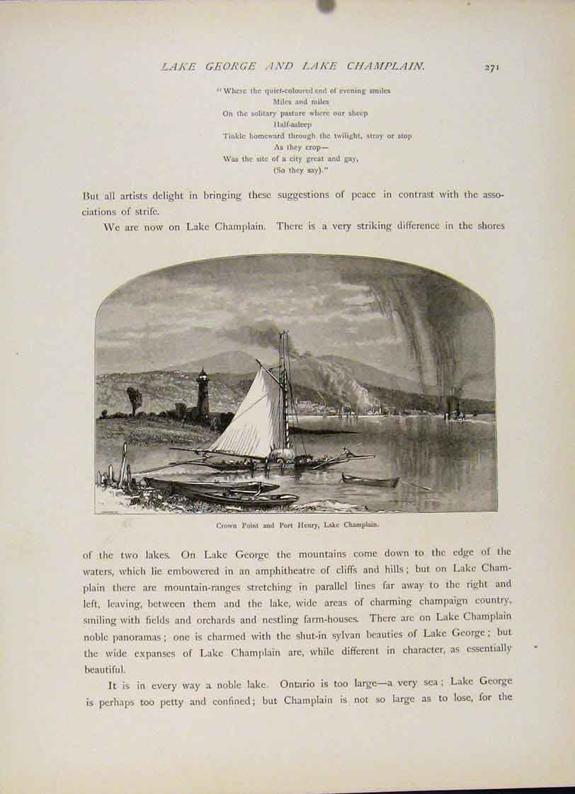 Print Lake George Champlain Crown Point Port Henry 387121 Old Original
