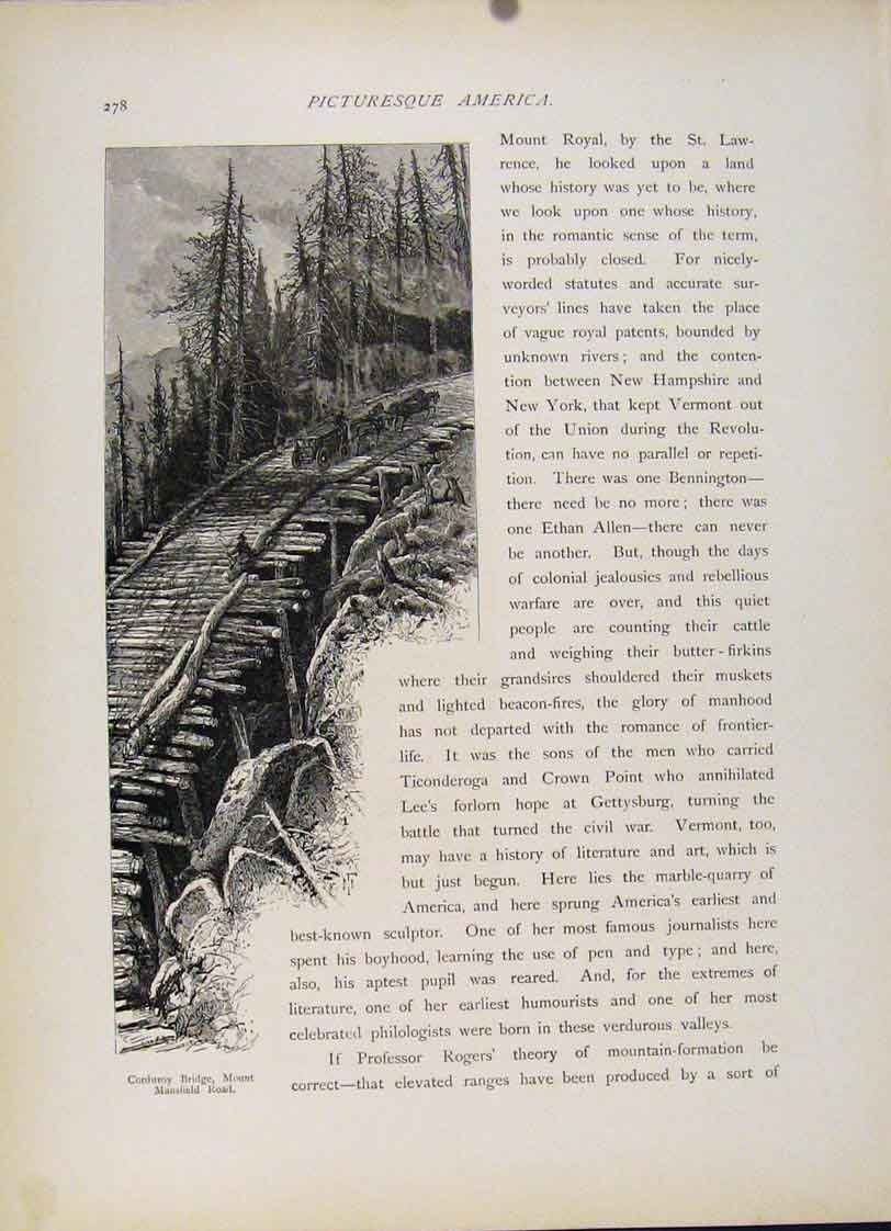 Print Corduroy Bridge Mount Mansfield Road Engraved 417121 Old Original