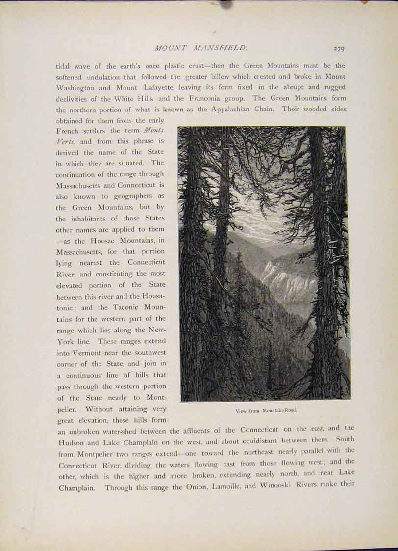 Print Mountain Road Mount Mansfield Wood Engraving 427121 Old Original