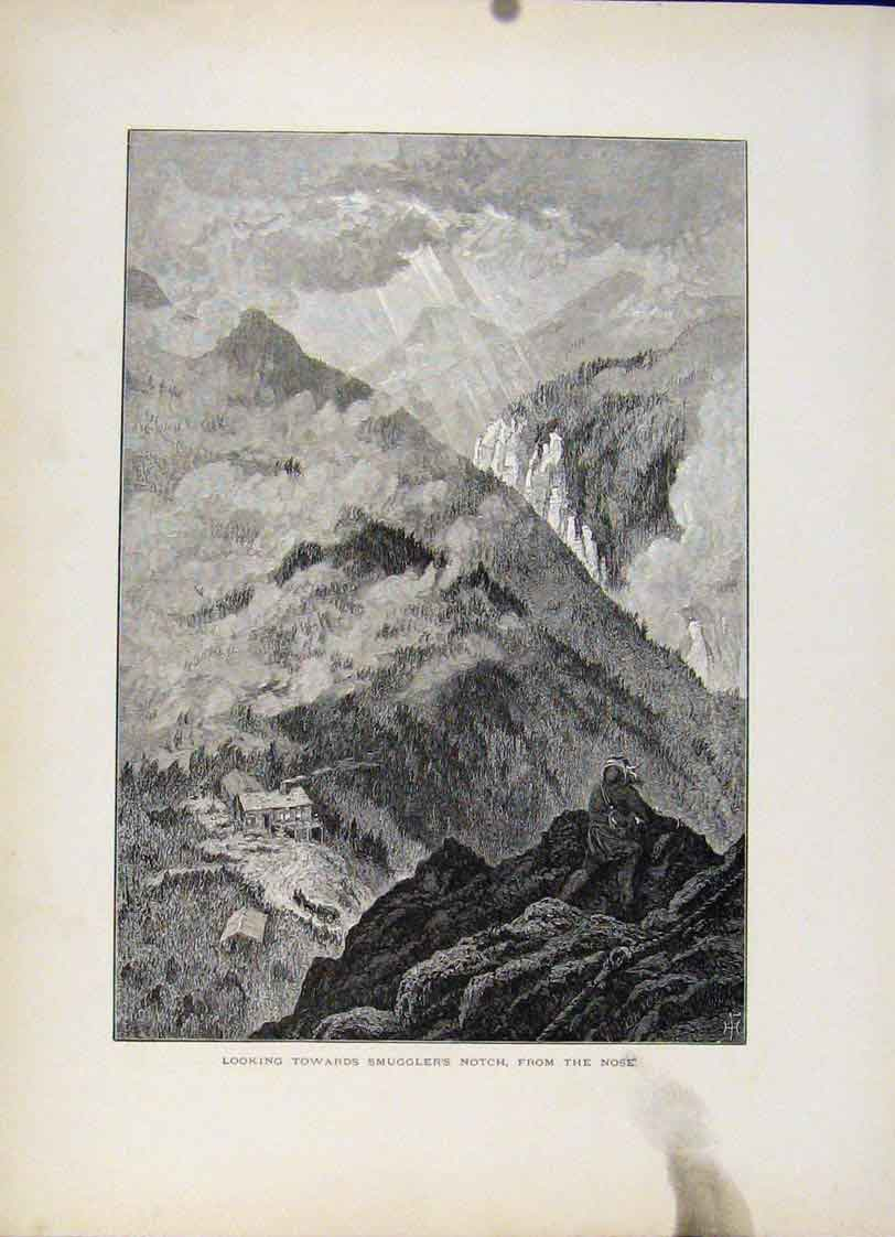 Print Smugglers Notch Nose Wood Engraving Art 457121 Old Original