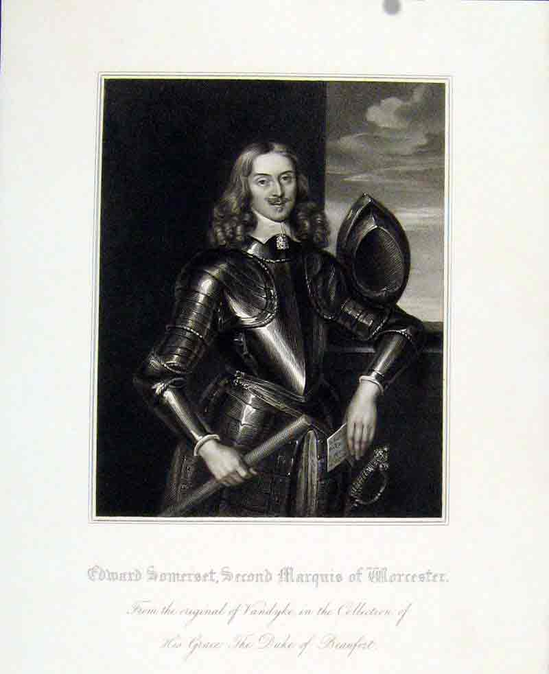 Print Edward Somerset Second Marquis Worcester Portrait 377291 Old Original