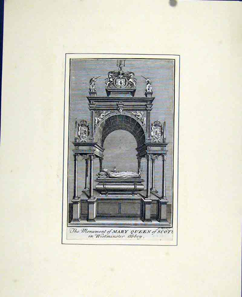 Print Fine Art Portrait C1830 Monument Mary Queen Scots 707291 Old Original