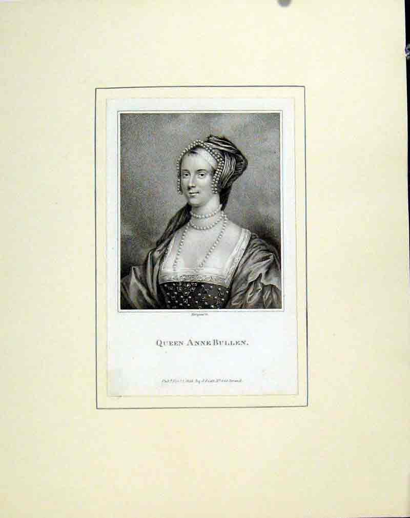 Print Queen Anne Bullen Portrait Fine Art 127291 Old Original