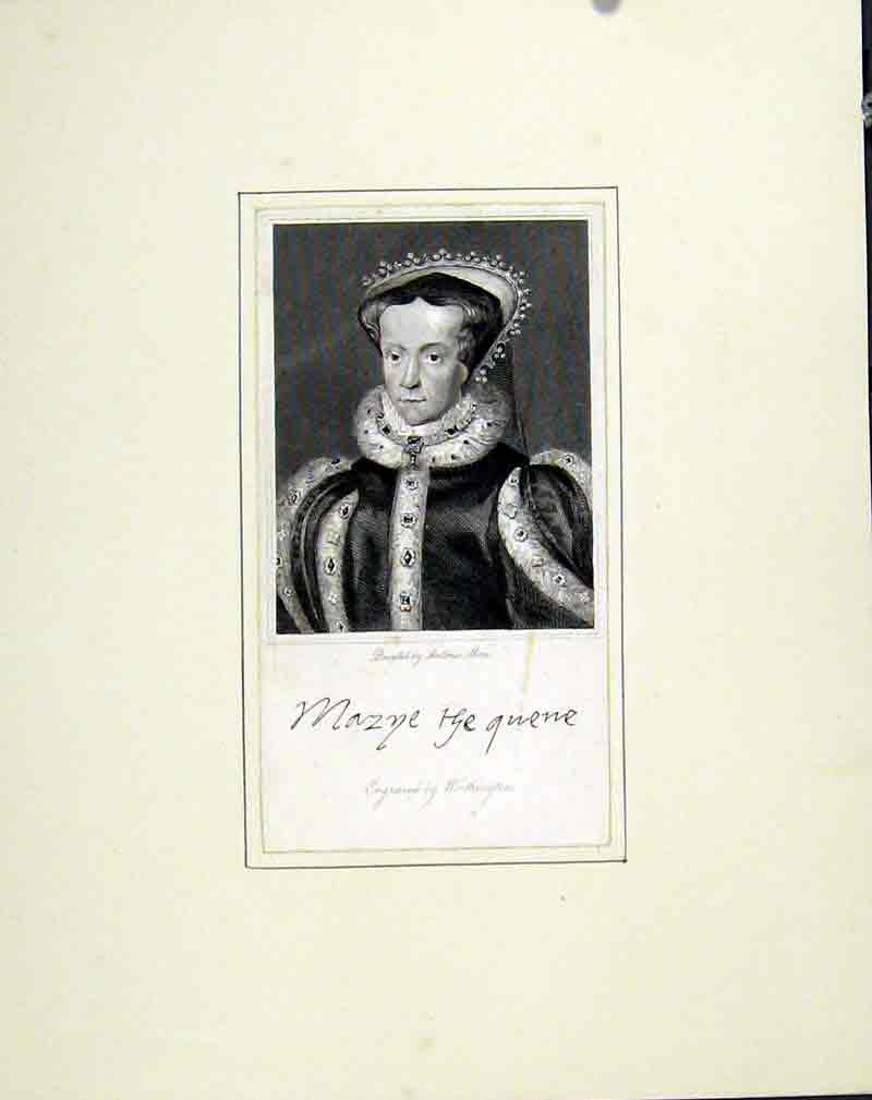 Print Portrait Queen Mary C1830 Art 147291 Old Original