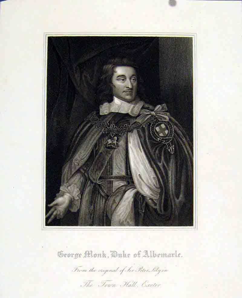 Print George Monk Duke Albemarle Exeter Town Hall Portrait 727291 Old Original