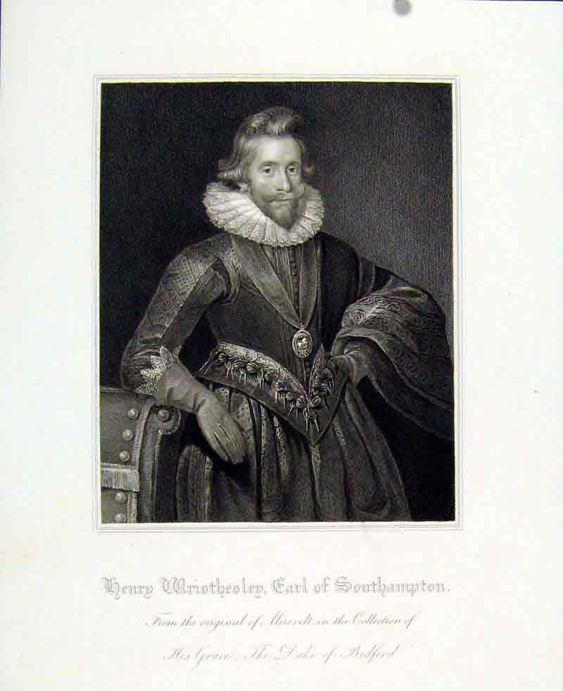 Print Henry Wriothesley Earl Southampton C1830 747291 Old Original