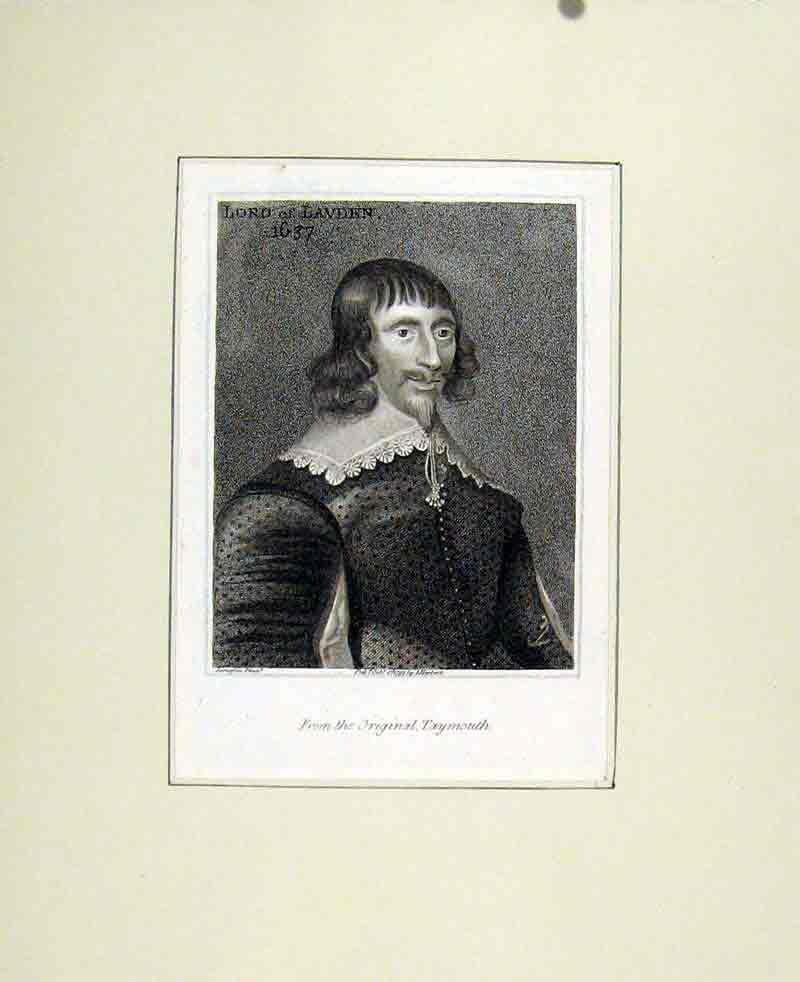 Print Lord Lavden 1637 Fine Art Portrait C1830 007291 Old Original