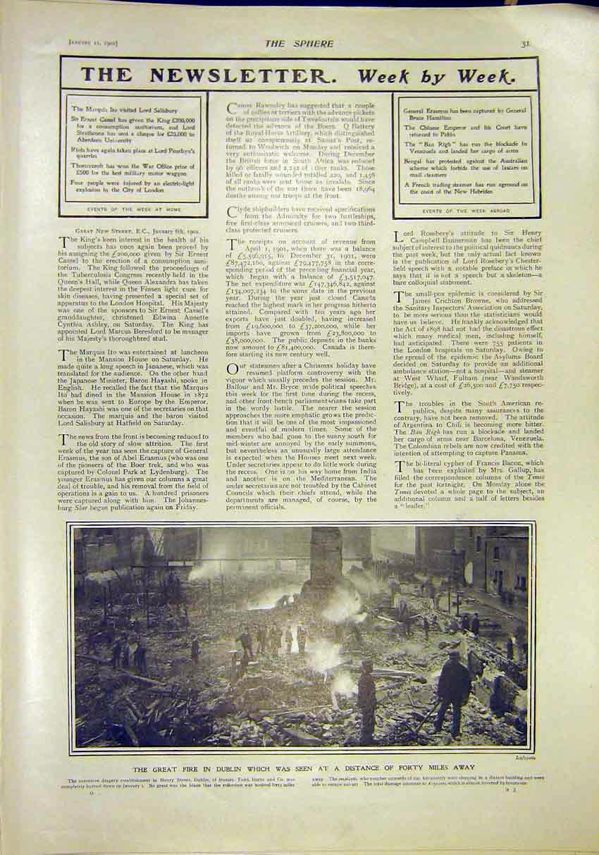 Print Fire Dublin Ireland Drapery Factory Todd Burns 1902 317311 Old Original