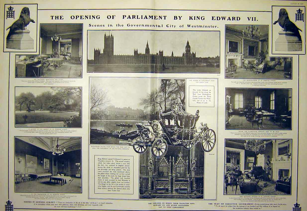 Print Opening Parliament King Edward Westminster Coach 1902 73T7311 Old Original