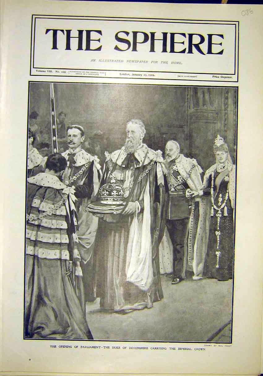 Print Opening Parliament Duke Devonshire Imperial Crown 1902 867311 Old Original