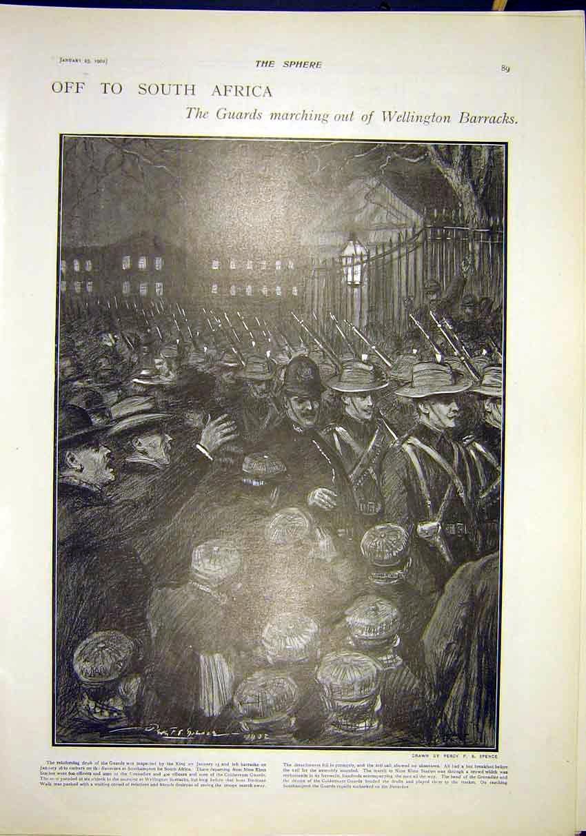 Print Africa Guards Wellington Barracks Troops 1902 897311 Old Original