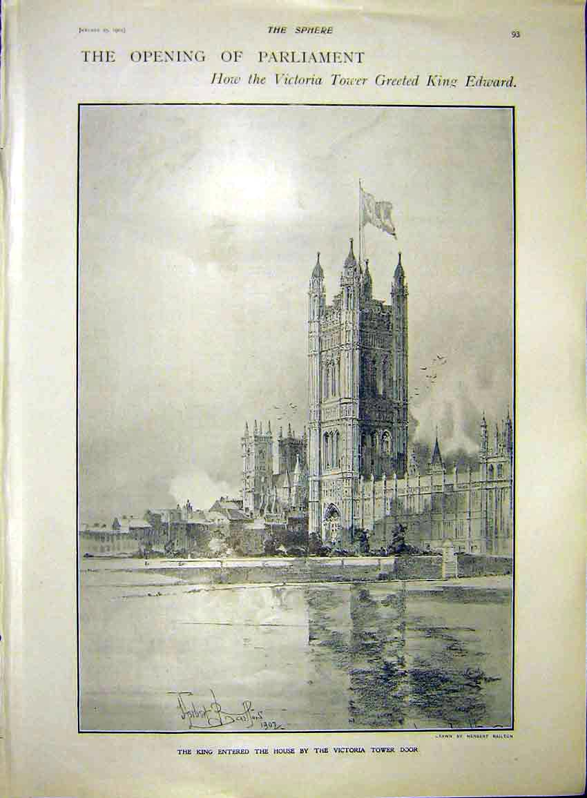 Print Opening Parliament Victoria Tower London 1902 937311 Old Original