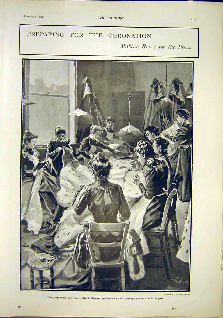 Print Coronation Robes Peers Ede'S Chancery Lane London 1902 197311 Old Original