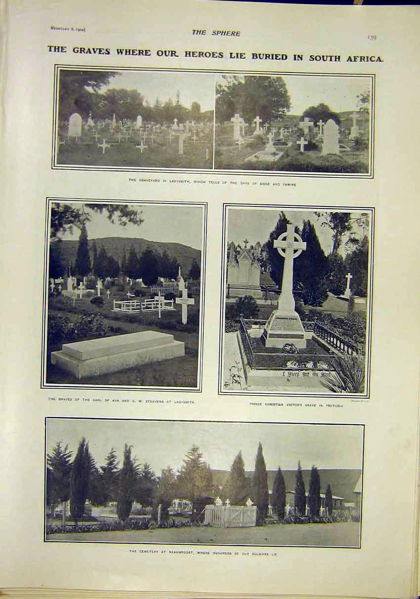 Print South Africa Graves Ladysmith Naauwpoort Pretoria 1902 397311 Old Original