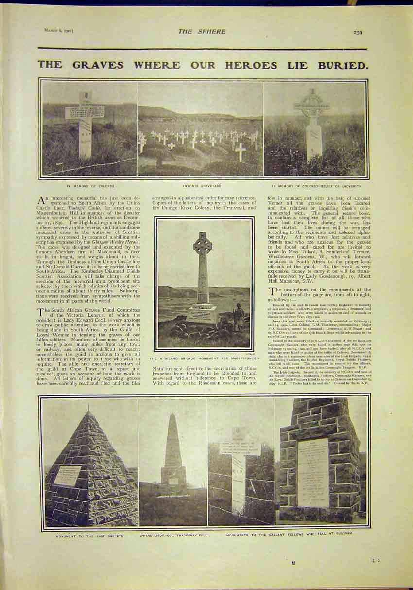 Print Africa Graves Colenso Intombi Magersfontein 1902 397311 Old Original