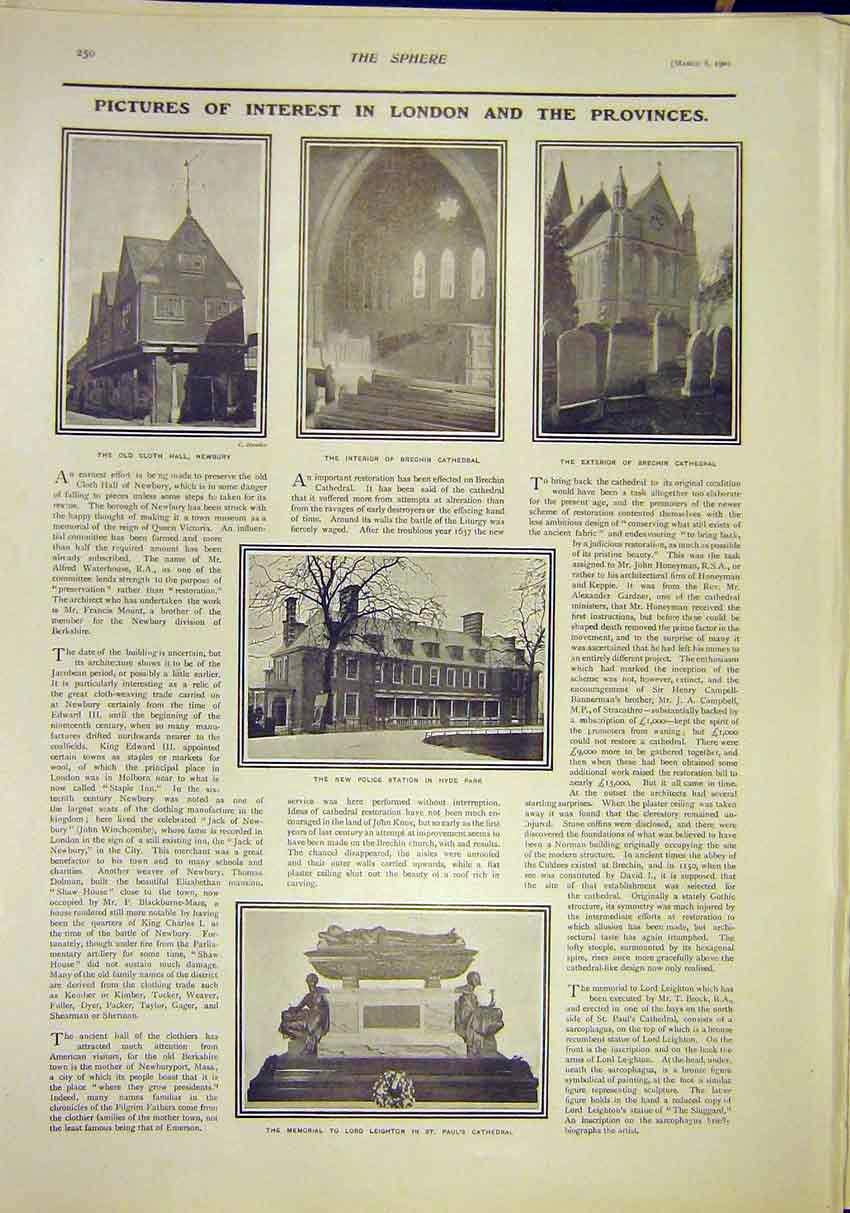 Print London Newbury Brechin Cathedral Hyde Park Leighton 507311 Old Original