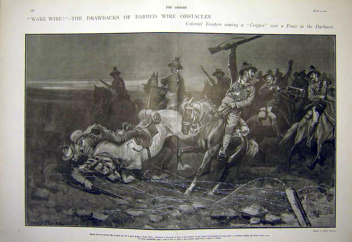 Print Barbed-Wire Colonial Troops Fence Africa 1902 67T7311 Old Original