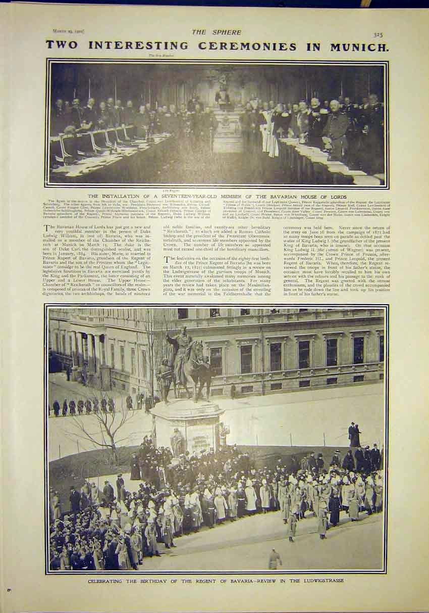 Print Ceremony Munich Bavaria House Lords Ludwigstrasse 1902 257311 Old Original