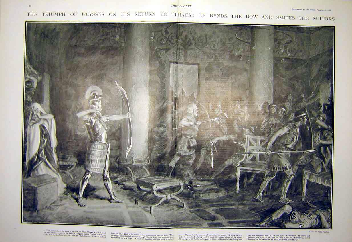 Print Ulysses Ithaca Play Theatre Scene Pegram 1902 04T7311 Old Original