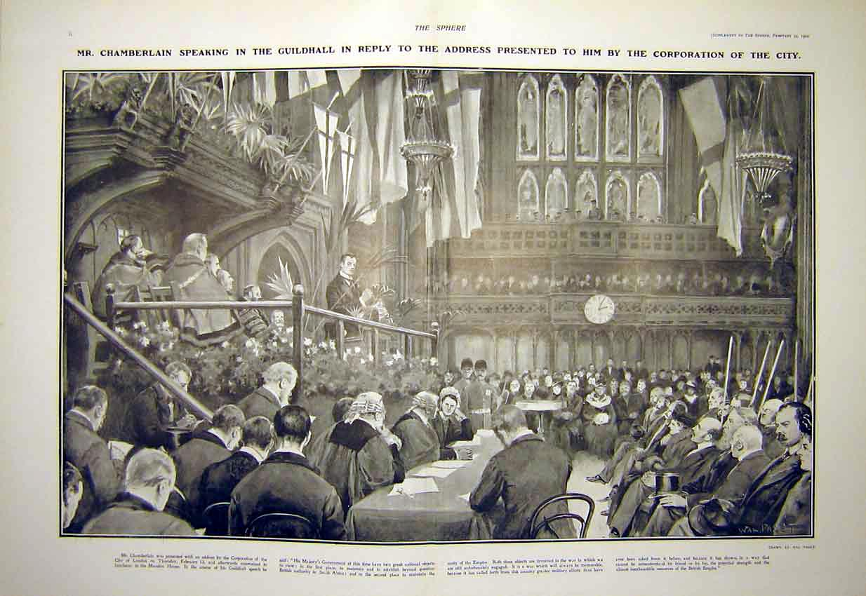 Print Chamberlain Guildhall Corporation City London 1902 06T7311 Old Original