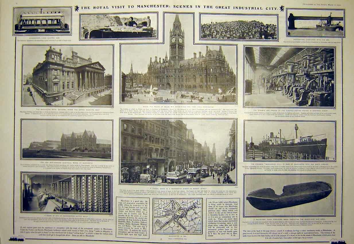 Print Prince Wales Manchester Owens College Industrial 1902 10T7311 Old Original