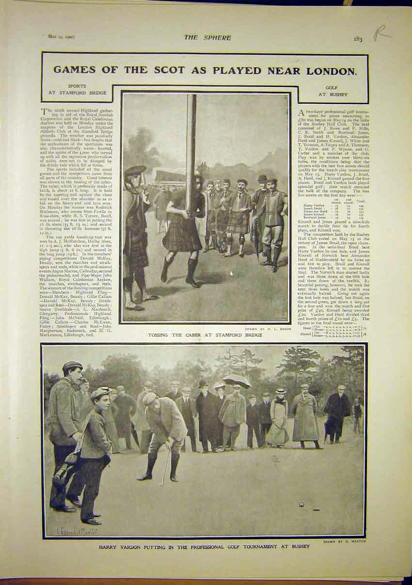 Print Scottish Games Sport Caber Golf Rodin Sculptor 1902 83R7321 Old Original