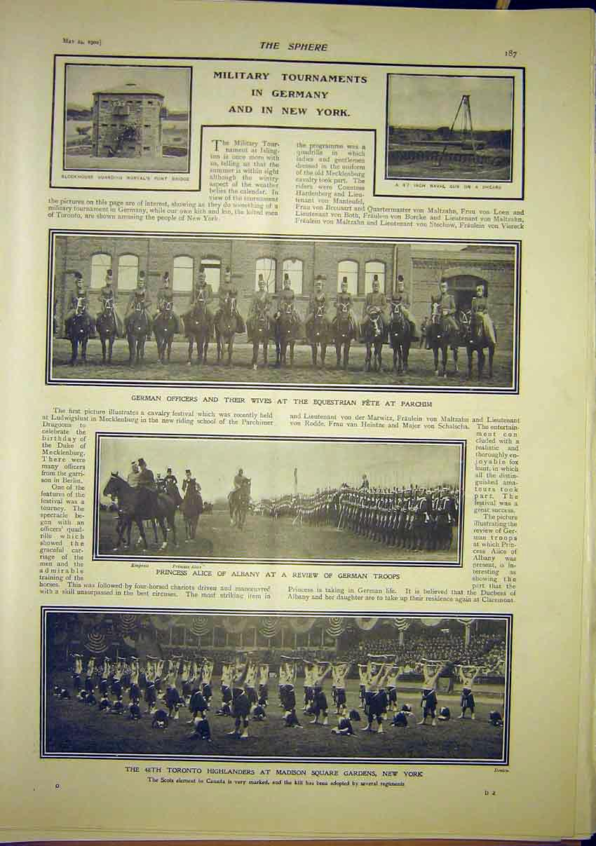 Print Military Tournaments Germany New York America 1902 877321 Old Original