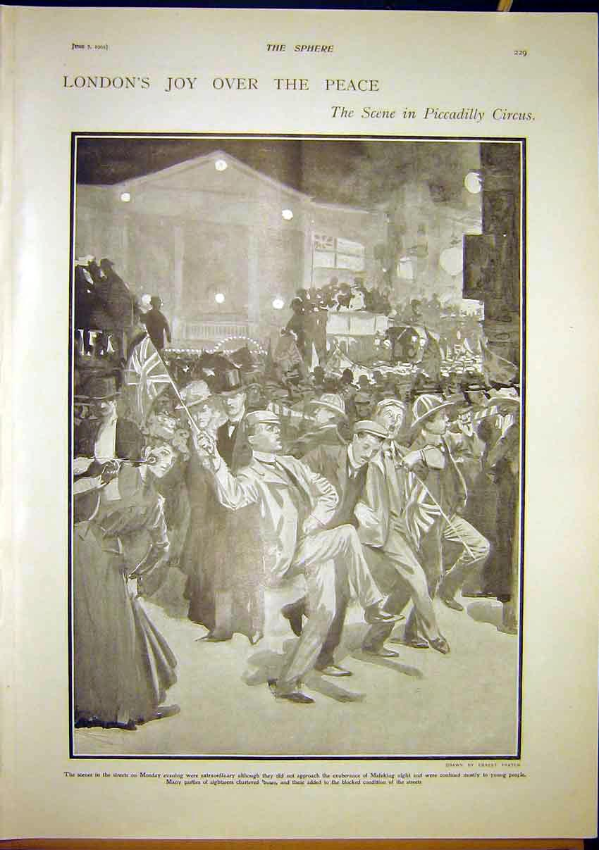 Print London Peace Piccadilly Circus Mafeking Boer War 1902 297321 Old Original