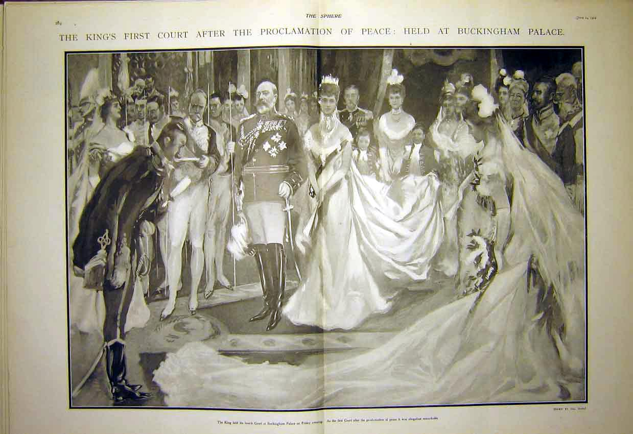 Print Buckingham Palace King Court Peace Proclamation 1902 63T7321 Old Original