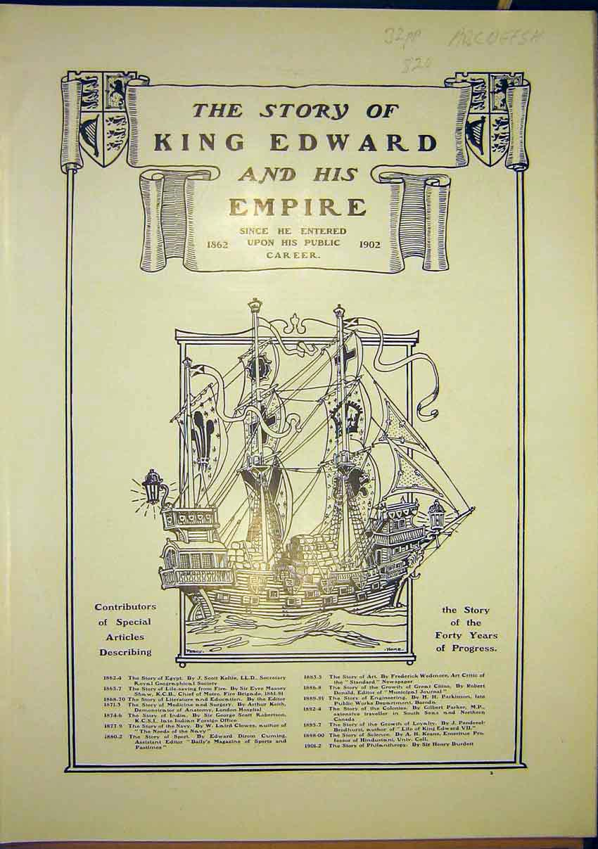 Print King Edward Empire Career Royal Story 1902 007321 Old Original