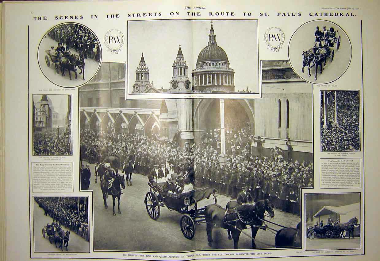 Print St Paul'S Cathedral Procession London King Queen 1902 12T7321 Old Original
