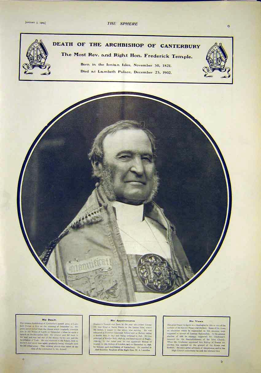 Print Archbishop Canterbury Temple Portrait 1903 097341 Old Original