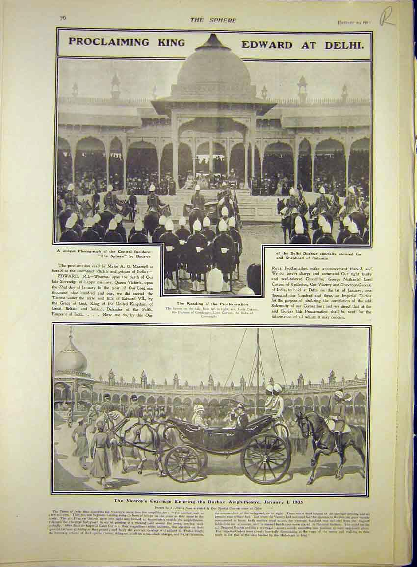 Print King Edward Delhi India Elephant Musjid Suffolk Cruiser 76R7341 Old Original