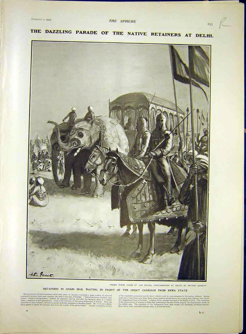Print Parade Delhi Elephant Chain-Mail Somaliland Africa 1903 33R7341 Old Original
