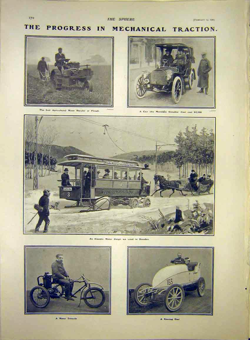 Print Car Mercedes Motor Sleigh Tricycle Plough Ivel 1903 707341 Old Original
