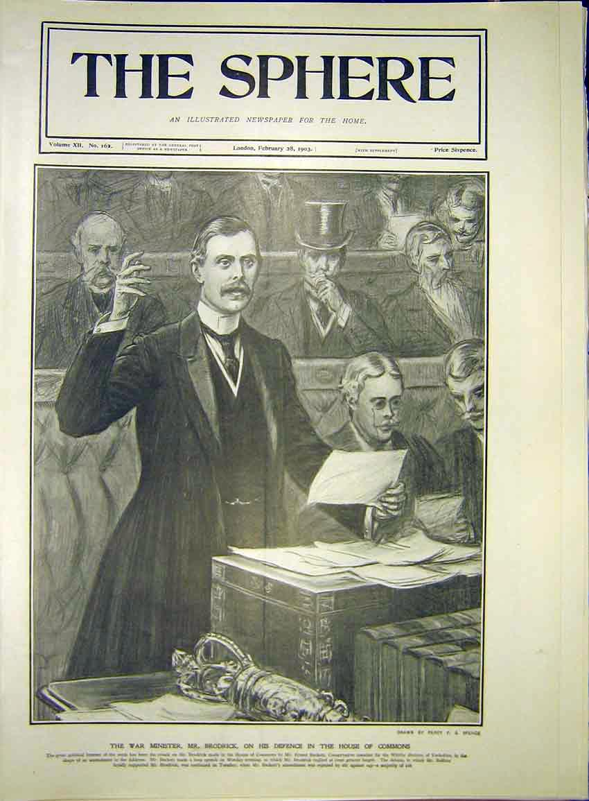 Print War Minister Brodrick House Commons 1903 967341 Old Original